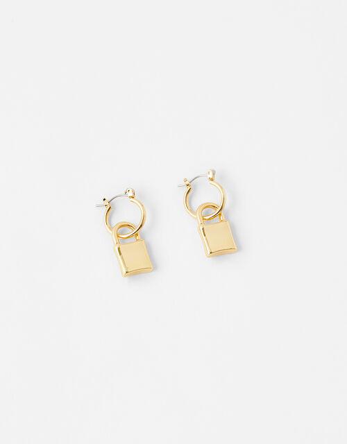 Padlock Huggie Hoop Earrings, , large