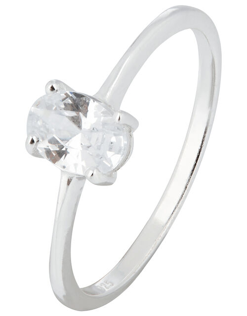 Sterling Silver Oval Cut Solitaire Ring, White (ST CRYSTAL), large