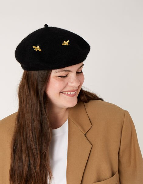 Bee Embroidered Beret , , large