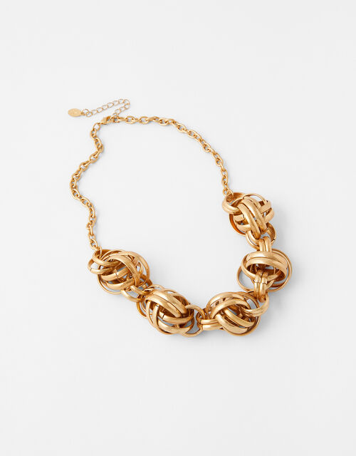 Statement Knot Chain Collar Necklace, , large