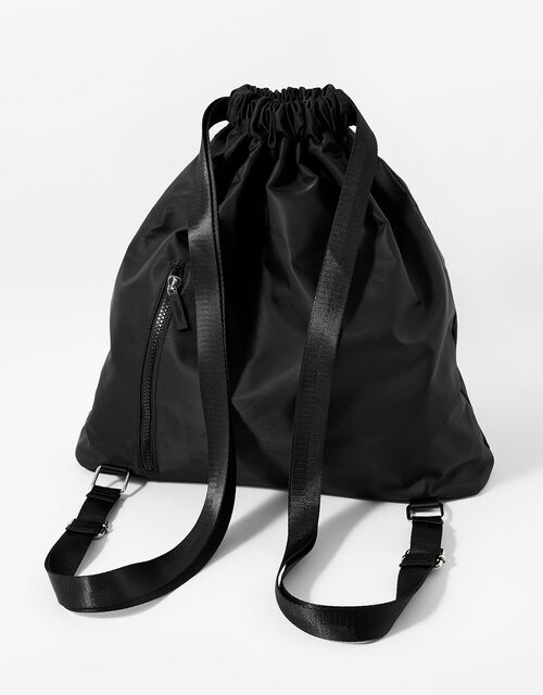 Dani Drawstring Gym Bag, Black (BLACK), large