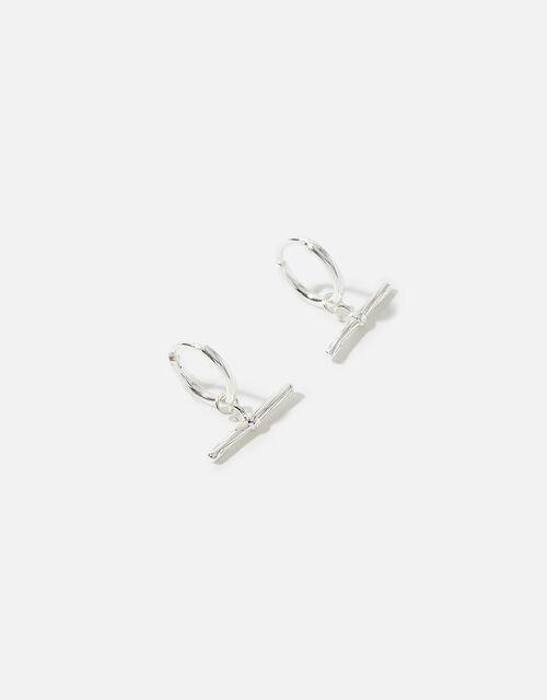 Sterling Silver T-Bar Earrings, , large