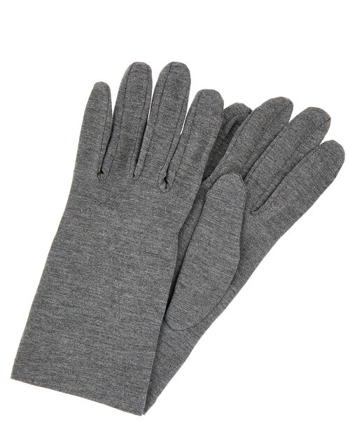 Bamboo Jersey Touch Screen Gloves, Grey (GREY), large