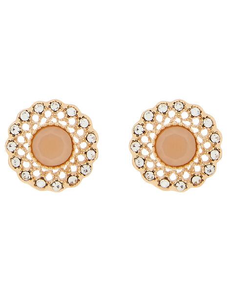 Filigree Gemstone and Pavé Stud Earrings, , large