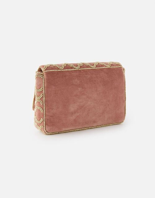 Grecian Tile Velvet Clutch Bag , Pink (PINK), large