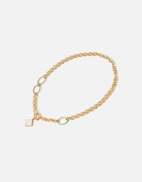 Reconnected T-Bar Pearl Chain Necklace, , large