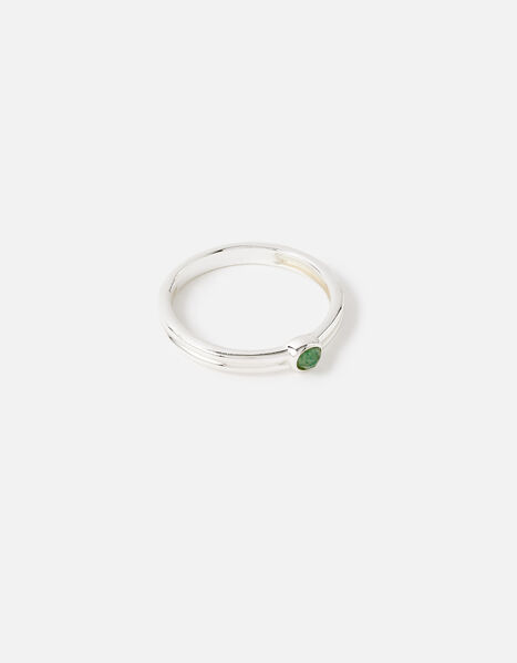 Sterling Silver Aventurine Ring Silver, Silver (ST SILVER), large