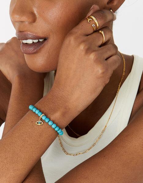 Gold-Plated Turquoise Power Stone Bracelet, , large