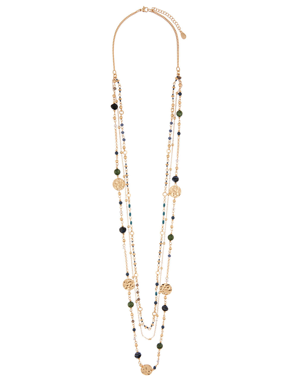 Stone And Coin Layered Necklace, , large