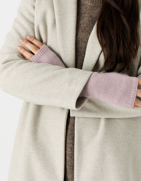 Longline Fingerless Gloves in Cashmere  Pink, Pink (PINK), large