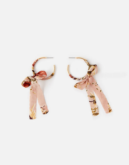 Fabric Bow Hoop Earrings, , large