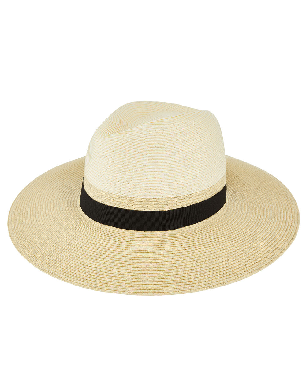 Two Tone Fedora Hat, Natural (NATURAL), large