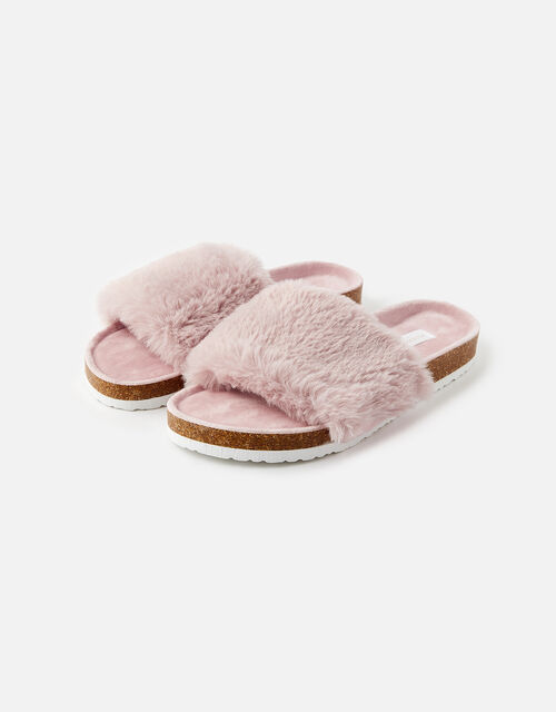 Fluffy Slider with Cork Base, Pink (PINK), large