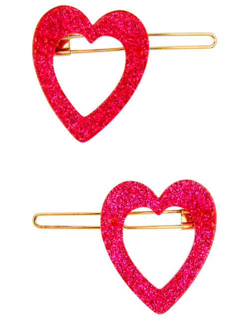 2 Resin Glitter Heart Hair Clips, , large