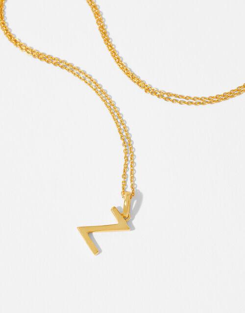 Gold Vermeil Initial Pendant Necklace - Z, , large