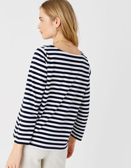 Stripe Boat Neck T-Shirt, Blue (NAVY), large