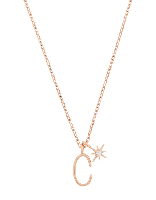 Rose Gold-Plated Initial Star Necklace - C, , large