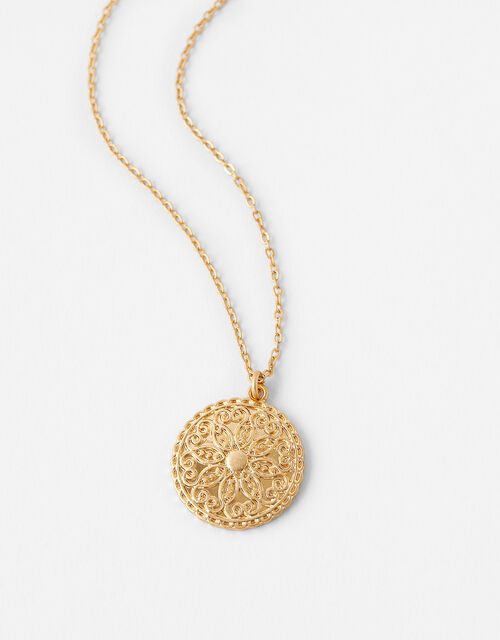 Flower Coin Pendant Necklace, , large