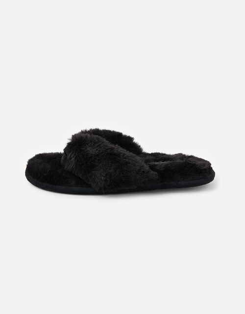 Laura Fluffy Thong Slippers, Black (BLACK), large