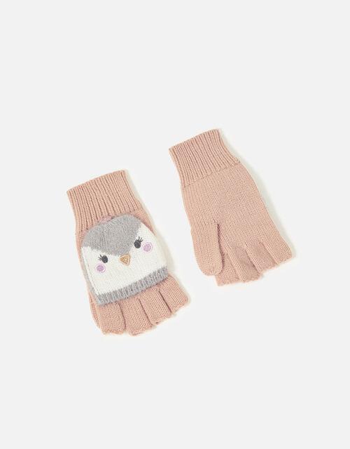Girls Penguin Capped Gloves, Multi (PASTEL-MULTI), large