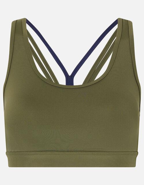 Multi-Strap Yoga Crop Top, Green (KHAKI), large