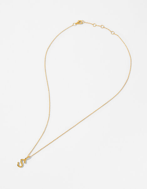 Gold Vermeil Initial Pendant Necklace - S, , large