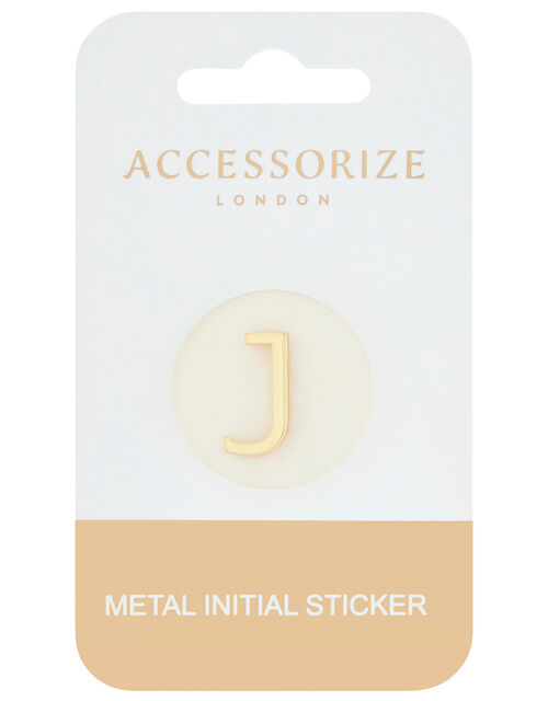 Metallic Initial Sticker - J, , large