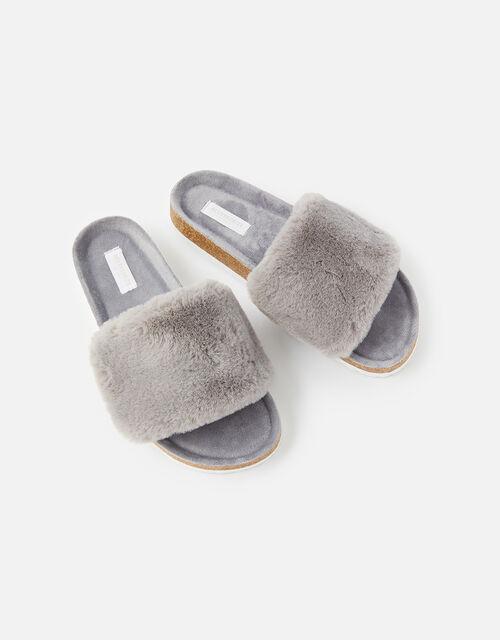 Symone Fluffy Slider Slippers, Grey (GREY), large