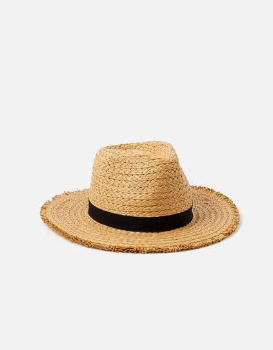 Corfu Frayed Edge Floppy Hat  Natural, Natural (NATURAL), large