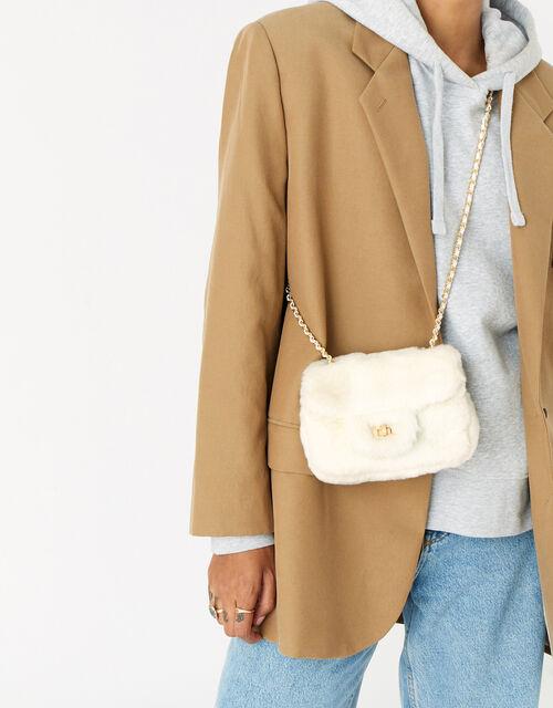 Billie Mini Faux Fur Cross-Body Bag , Cream (CREAM), large