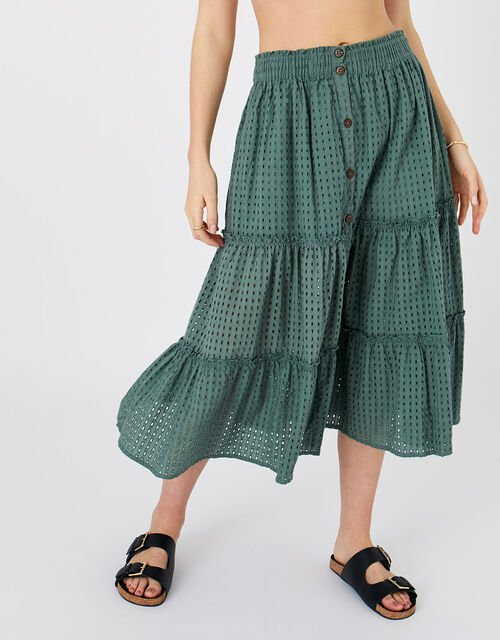 Tiered Broderie Skirt, Green (KHAKI), large