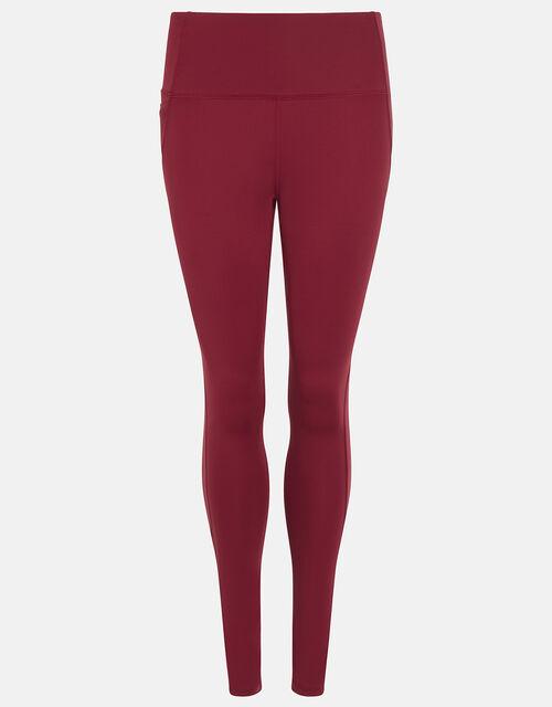 Full-Length Gym Leggings, Red (BURGUNDY), large