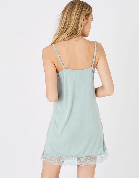 Lace Trim Slip Dress Green, Green (LIGHT GREEN), large