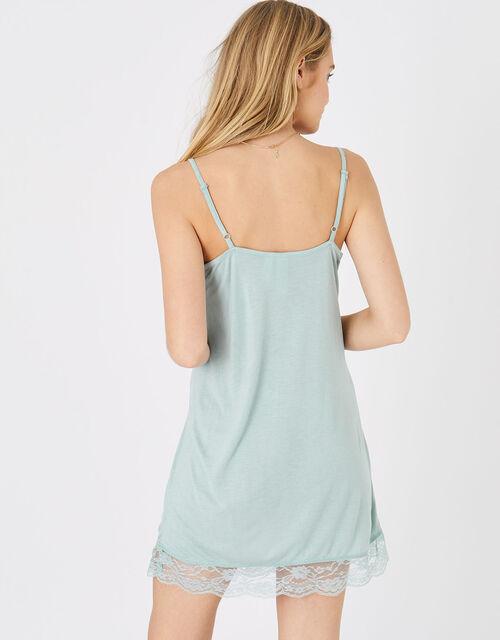 Lace Trim Slip Dress, Green (LIGHT GREEN), large