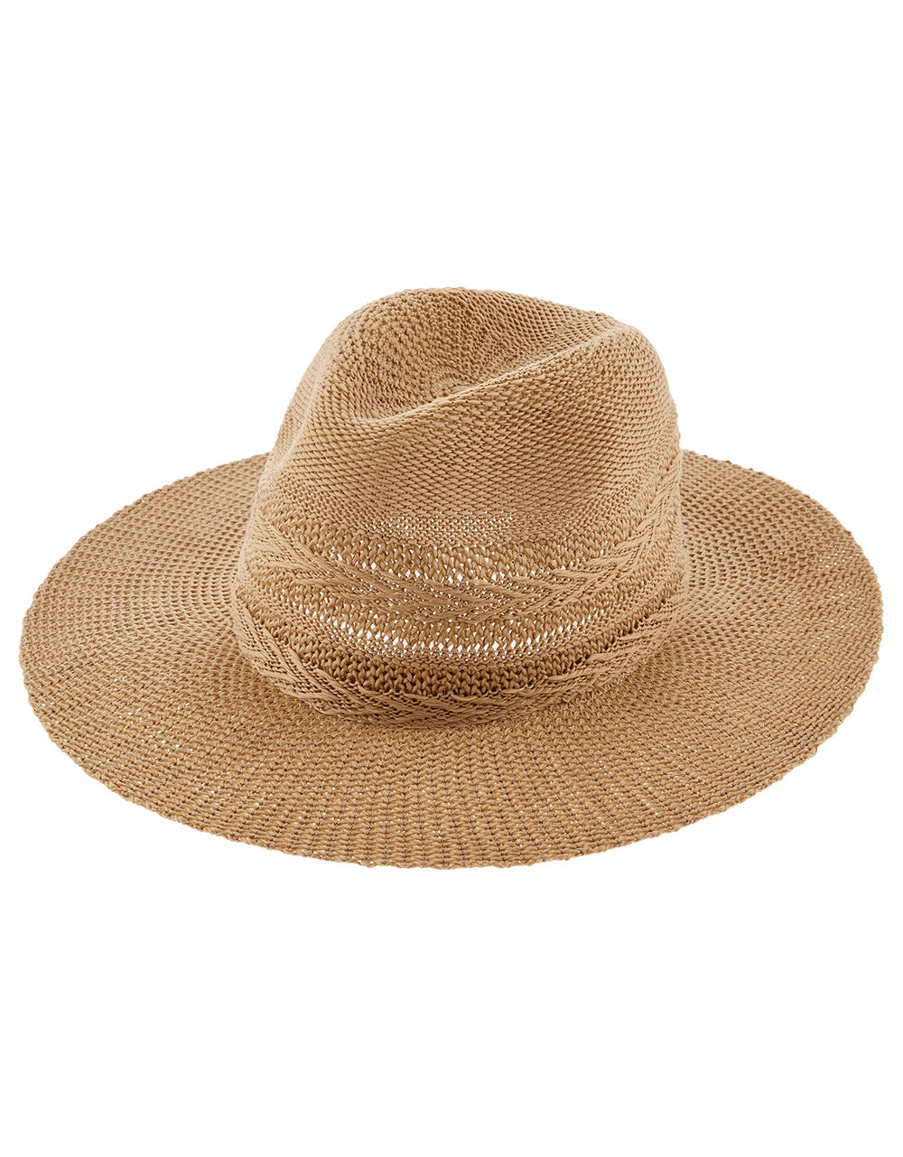 Chevron Packable Fedora Hat, Tan (TAN), large