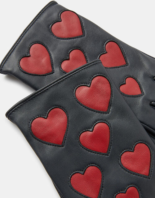 Love Heart Leather Gloves, Black (BLACK), large