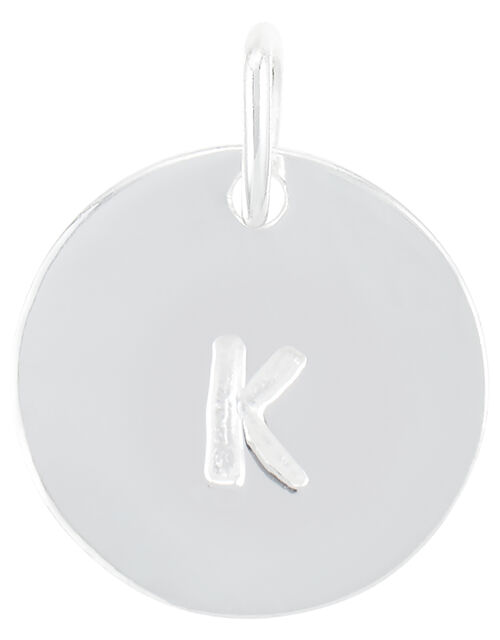 Sterling Silver K Initial Charm, , large