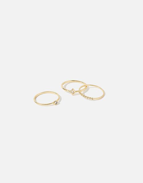 Pave Stacking Ring Set, Gold (GOLD), large
