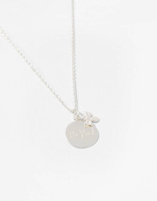 Sterling Silver Bee Kind Necklace, , large