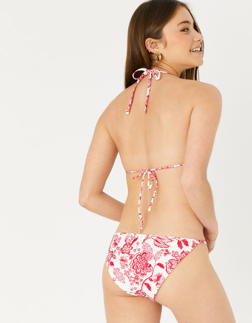 Floral Triangle Bikini Top, Red (RED), large