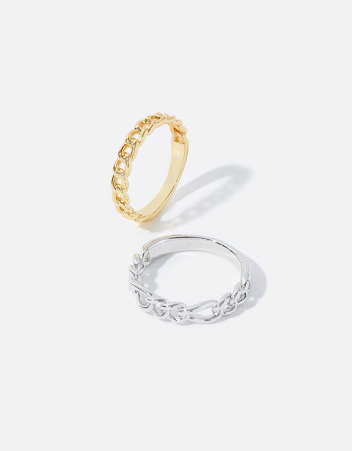 Mix Plating Chain Rings, Gold (GOLD), large