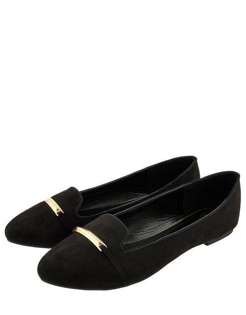 Metal Bar Flat Shoes, Black (BLACK), large