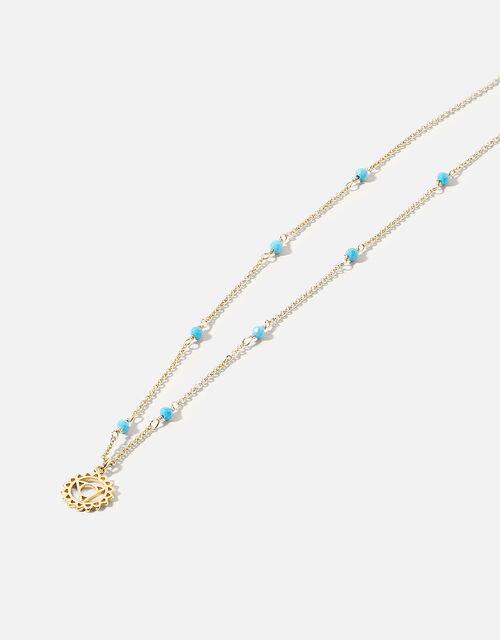 Beaded Throat Chakra Pendant Necklace, , large