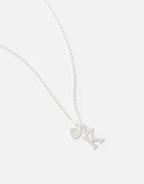 Sterling Silver Heart Initial Necklace - K, , large