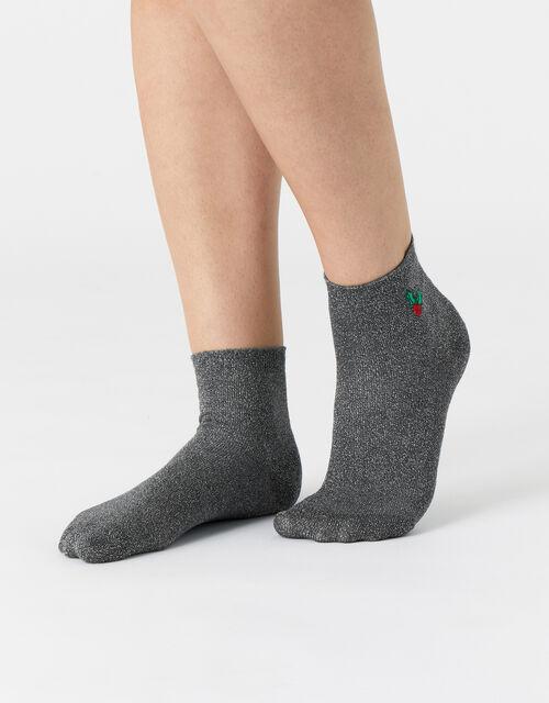 Embroidered Holly Metallic Socks , , large