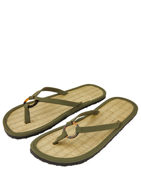 Resin Ring Seagrass Flip Flops Green, Green (KHAKI), large