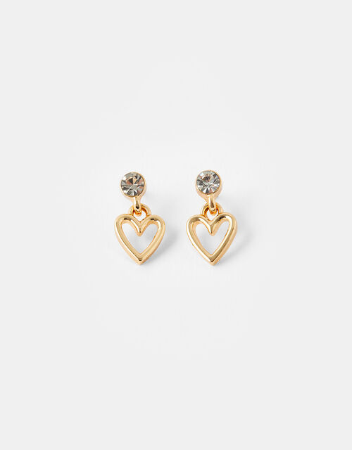 Heart and Crystal Droplet Earrings, , large