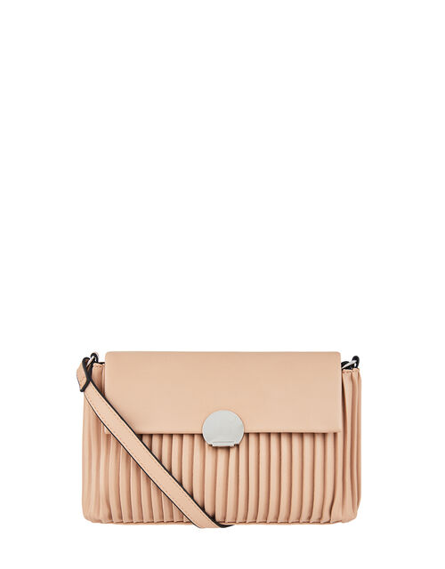 Pleated Cross-Body Bag, Nude (NUDE), large