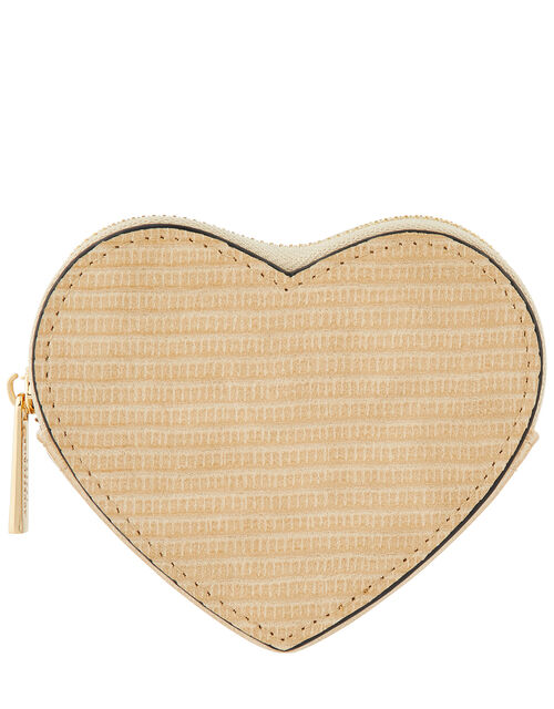 Textured Heart Coin Purse, Natural (IVORY), large