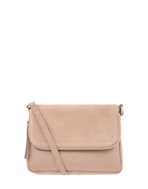 Sally Leather Cross-Body Bag, Pink (PINK), large